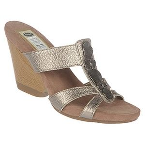 Dr Scholl's Happening Pewter leather wedge sandal